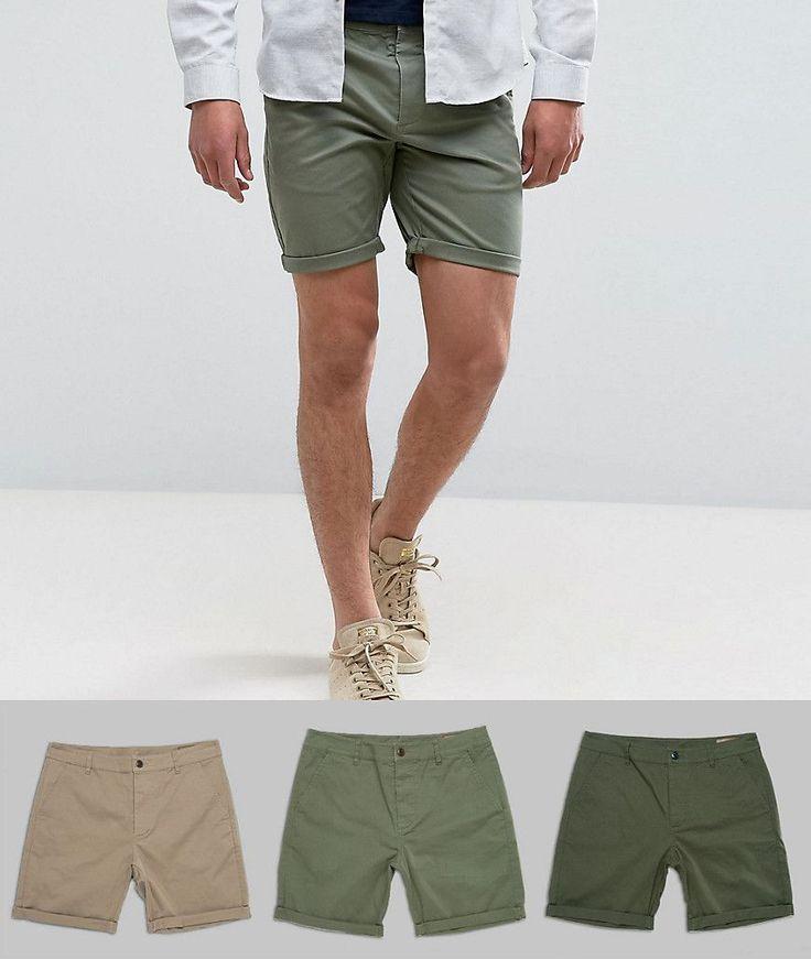 ASOS 3 Pack Slim Chino Shorts In Stone Dark Khaki & Light Green SAVE -