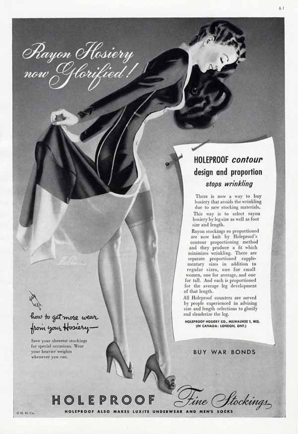 HOLEPROOF Hosiery - Stockings Ad - 1943 - Sexy Pin Up Lady by Merlin #HoleproofFineStockings