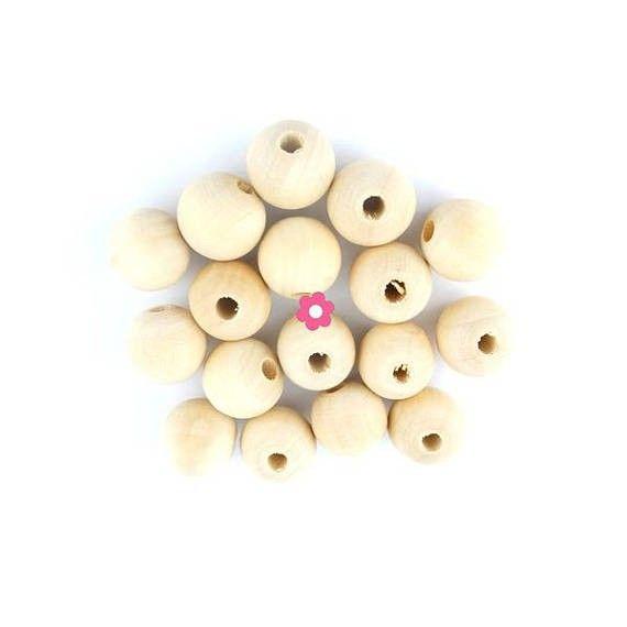 x50 Perles bois rondes 10mm