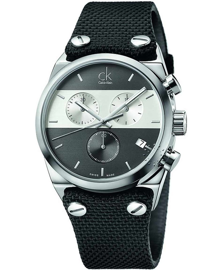 CALVIN KLEIN Eager Chronograph Black Fabric Strap, 334€ http://www.oroloi.gr/product_info.php?products_id=33698