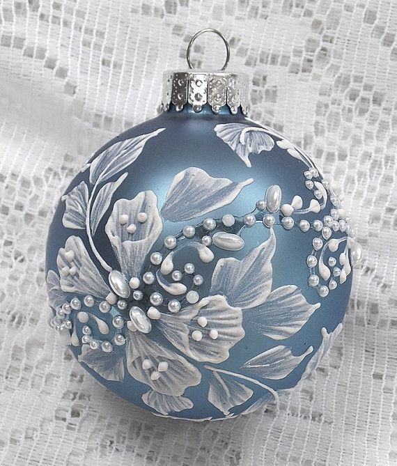 Soft Blue Hand Painted 3D White MUD Textured Floral Design Ornament withPearls 299