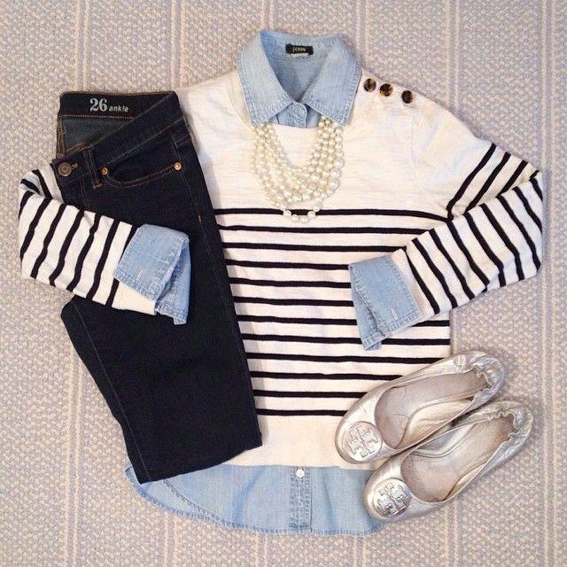 Denim on denim - J. Crew striped sweatshirt, dark denim, chambray shirt and pearl strand necklace. Tory Burch silver Reva flats