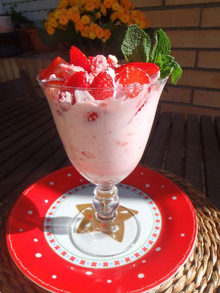 Las recetas que me gustan: Eton Mess (Fresas con nata merengada) - Fresas con nata merengada
