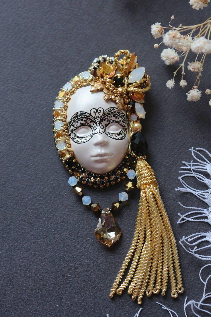 "Брошь ""Венецианская маска"" by Zukabrooch on Etsy"