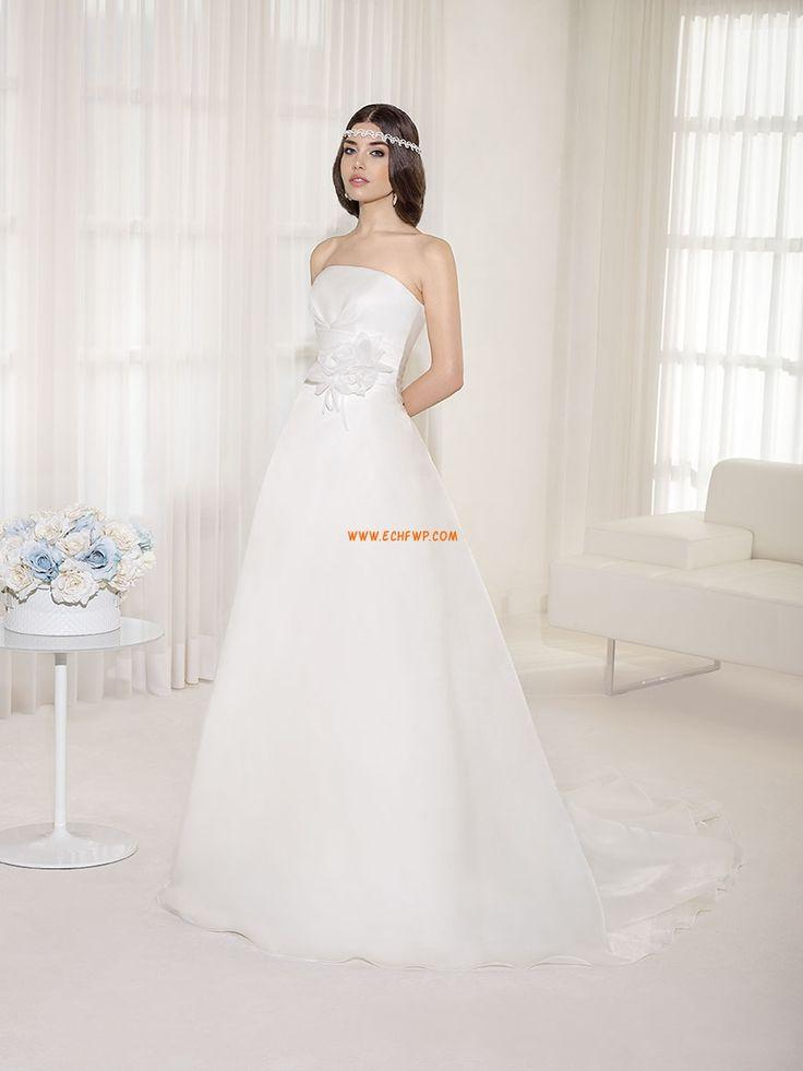 Traîne moyenne Fleurs Zip Robes de mariée pas cher
