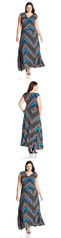 Calvin Klein Women's Plus-Size Printed Cowl Neck Maxi Dress, Tulip Multi, 1X