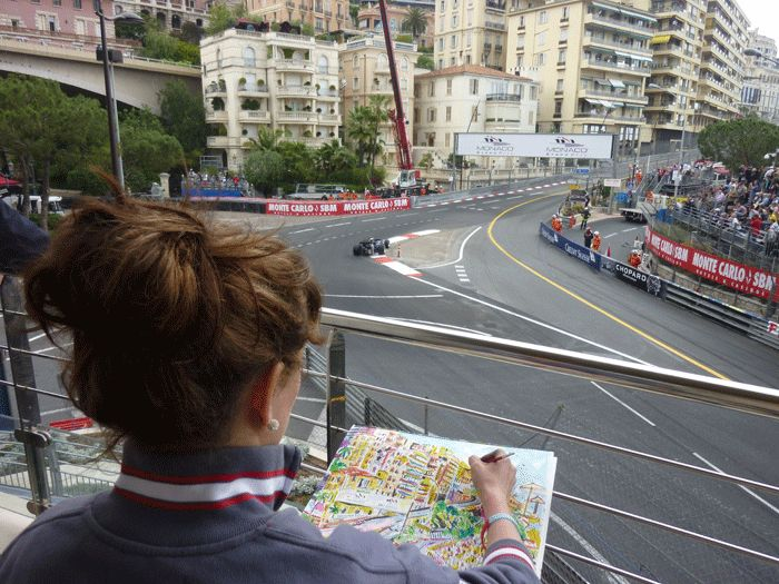 Painting at teh Monaco Grand Prix Historique in 2012