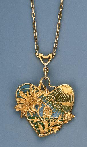 An Art Nouveau Plique-A-Jour Enamel Brooch Pendant by Gautrait