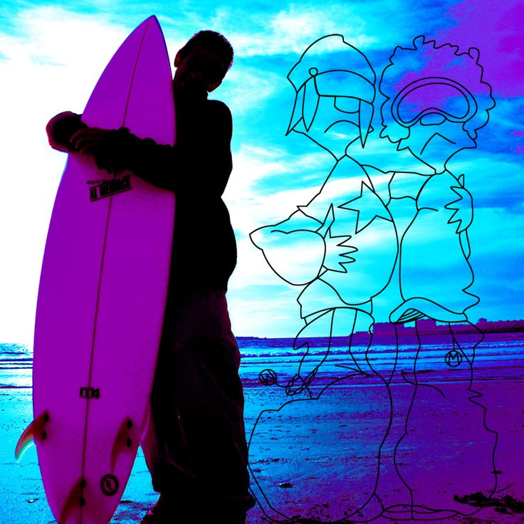 Surfer + drawing from designer