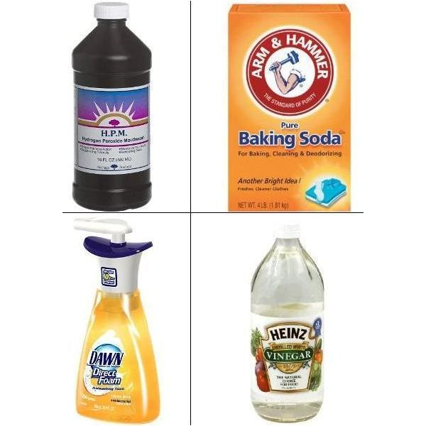 Remove Cat Urine and Dog Urine from carpet. Mix 1 part water, and 3 parts vinegar. Spray. Let it soak for 30 minutes. Mix 1 cup of hydrogen peroxide, 2 teaspoons of baking soda, and a squirt of dish-washing liquid. Shake it well. Spray, and let it soak/dry. Adjustments can be made for the measurements, to your liking.