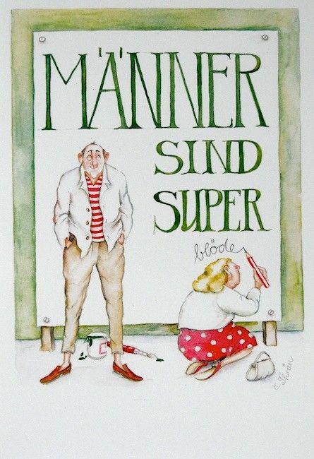 "Christina Thrän   Briefkarte ""Männer sind super"""