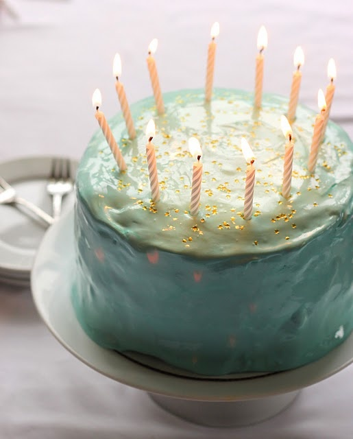 """Old Fashioned Birthday Cake with edible golden star sprinkles, robins egg colored """" angel feather"""" frosting"""