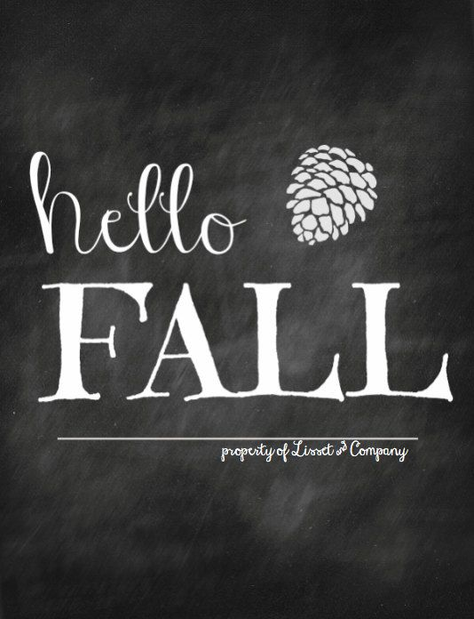 Hello Fall Chalkboard Style Instant Download via Etsy