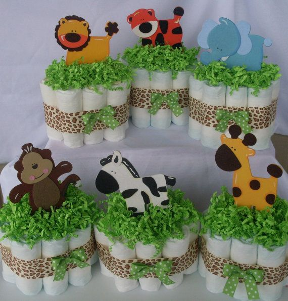 Mini Jungle Diaper CakesSet of 4Safari Baby by SHELOVESGLITZ