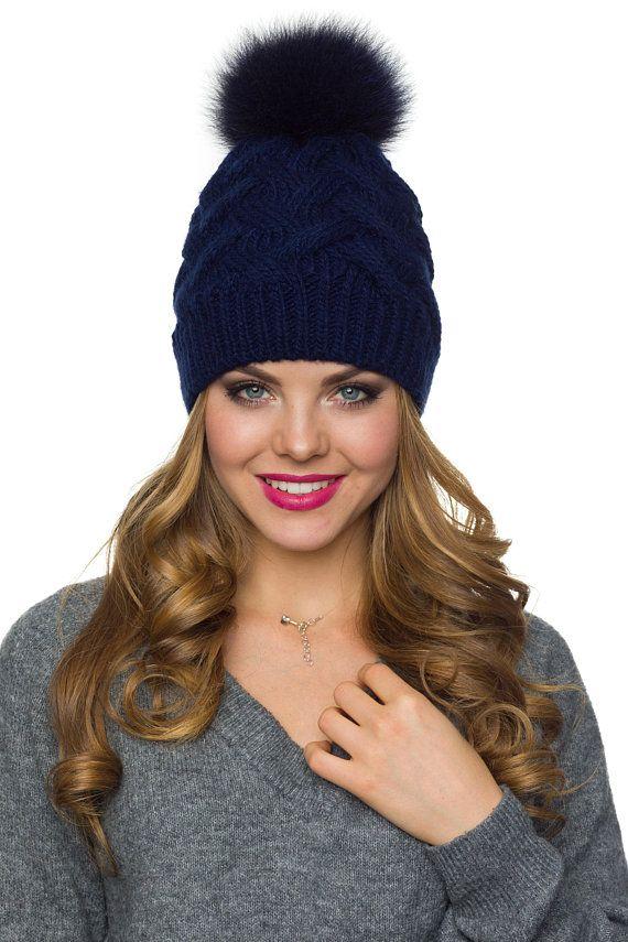 4ad09a5d6ac3d Pom pom hat with fleece Winter hat for women PomPom beanie
