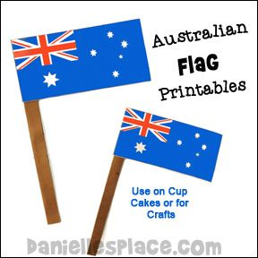 Australia Flag Day Craft - Australian Flag Printables in two sizes.  Use to decorate cup cakes or for Australia Day Crafts or celebrations from www.daniellesplace.com