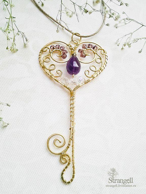 """Купить Кулон """"Ключ от Сердца"""" с аметистом, латунь - белый, ключ, ключик, ключи, ключ сердце"""