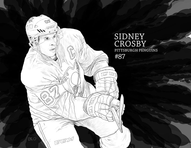 black and white illustration of Pittsburgh Penguins captain Sidney Crosby. Done on a Wacom Intuos Pro tablet. #SidTheKid #SidneyCrosby #PittsburghPenguins #illustration #drawing #sportsart #hockeyart #nhlart #wacom