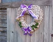 rustic wreath heart with white roses hot pink Mother's by Kreacje