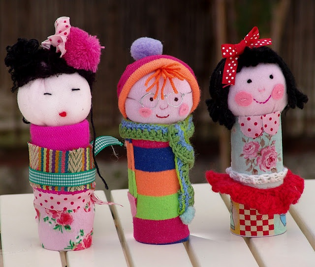 .craft for the girls - heads on toilet rolls -- let the girls decorate....