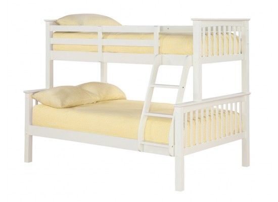 Bunk is available in white. The bottom is only a small 4ft double so will fit in the master along side the other single bed. I can check on site visit. Assembled Dimensions: Lower Bunk: L 2040mm x W 1310mm