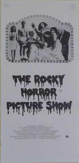 "Rocky Horror Picture Show - Australian Daybill Poster (Style B). Size: 30"" x 14"". Printed in Australia (1976). Description: B/W Chair Scene with credits. M.A.P.S Litho Pty Ltd. Printed on newsprint."