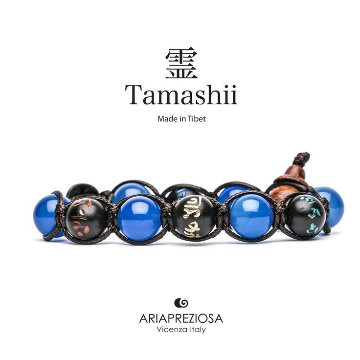 Tamashii - Bracciale originale tibetano (tg. L) realizzato con pietre naturali Agata Blu e legno orientale autentico con SIMBOLI MANTRA incisi a mano
