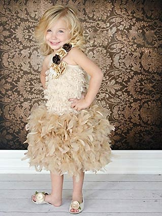 Birthday Surprise Couture Girls Feather Dress