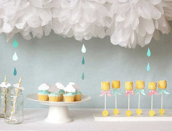 I think it's impossible to throw a party without cupcakes in some form.: Baby Shower Ideas, Shower Baby, April Shower, Partie, Cloud, Raindrop, Shower Theme, Rain Drop, Baby Shower