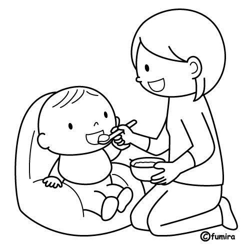 Mother feeding baby - free coloring pages | Coloring Pages