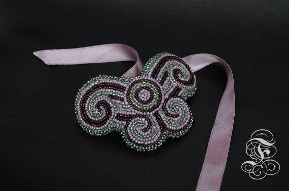 Bead Embroidery Bracelet Pink Butterfly by Fantasmat on Etsy