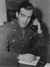 """We will not walk in fear...""  Edward R. Murrow as war correspondent, 1941-1945, via Tufts Univerisy"