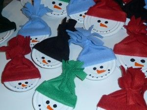 Snowman Ornaments (this site shows can lids cut w/ a smooth edge opener, could also use metal juice can lids or canning jar lids -- also, could use kid size socks for hats, cut top to make fringe.)