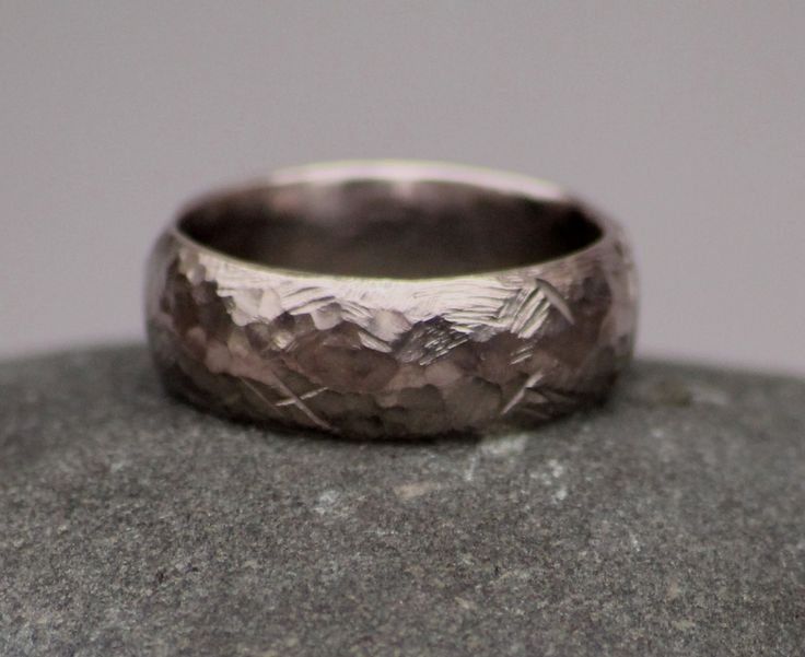 Carved and Rugged Wedding Band