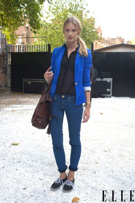 elle:    Model Style  A casual cool ensemble is caught between shows in London.  Photo: Imaxtree