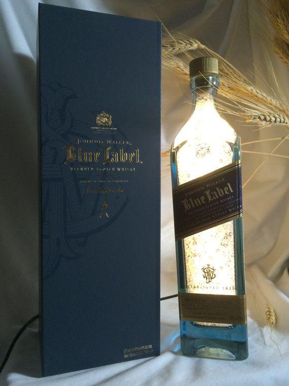 Lighted Johnnie Walker Blue Label Bottle with by iBottleCrafts