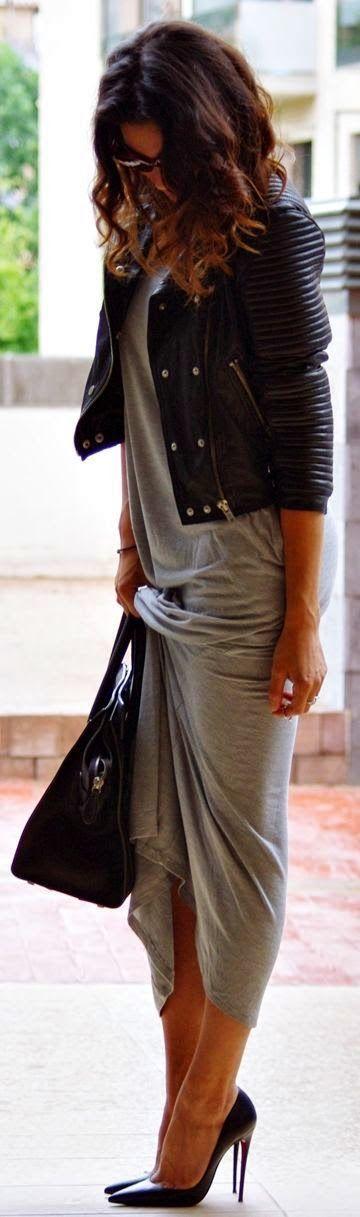 Grey maxi dress, black leather jacket