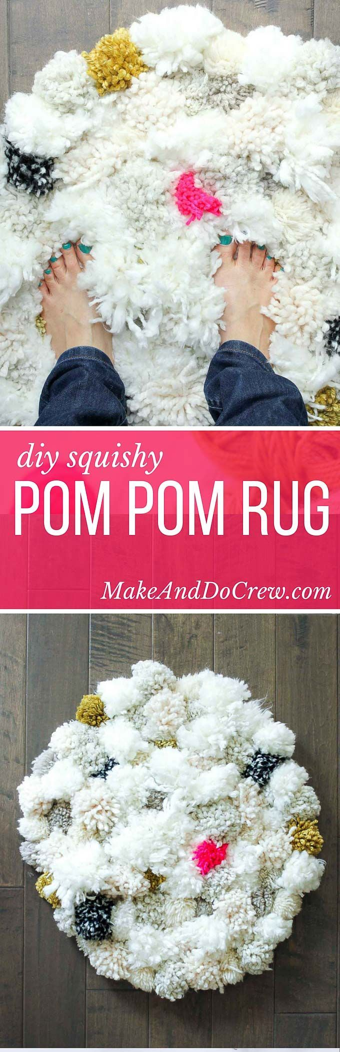 How to make a pom pom rug! This soft, scrumptiously squishy DIY pom pom rug takes very few skills to create and is a great way to use up a bunch of scrap yarn! Perfect for a bedroom, bathroom or baby nursery.