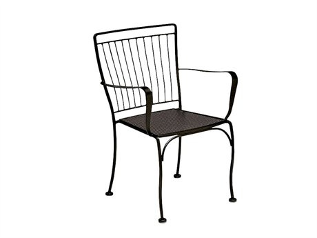 Woodard Easton Wrought Iron Metal Arm Stackable Bistro Dining Chair 1N0009: LuxePatio.com, 24W x 23D x 33.5H inches - $153.40