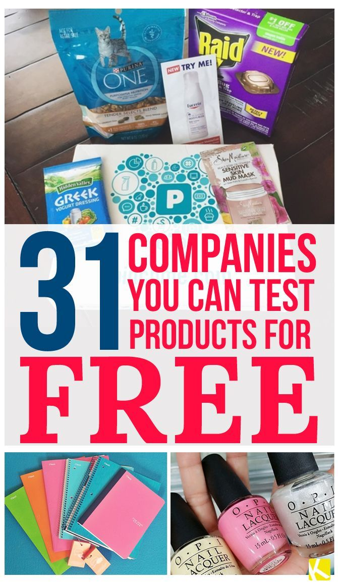 31 Companies That Send You Products to Test for Free.  Pin found by Freebies-For-Baby.com