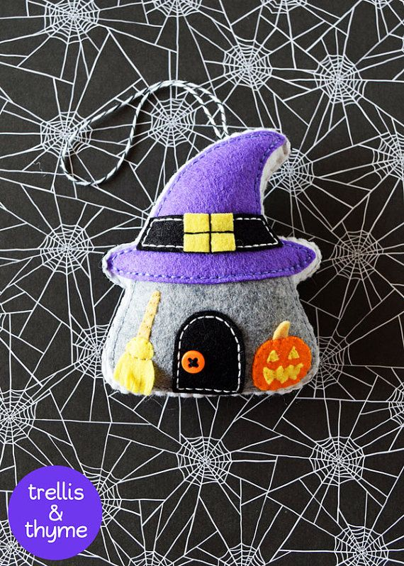 PDF Pattern - Spooky Cottage Ornament Pattern, Halloween Felt Ornament Pattern…