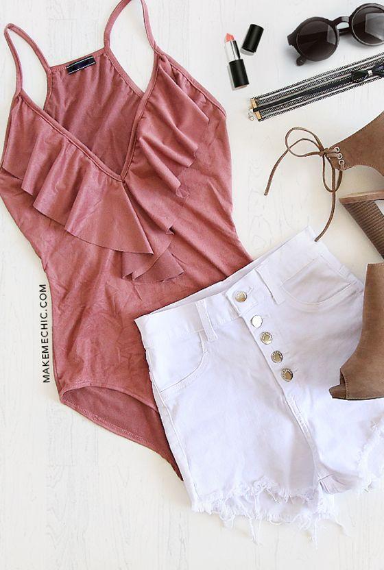Pink Ruffle V Neck Bodysuit