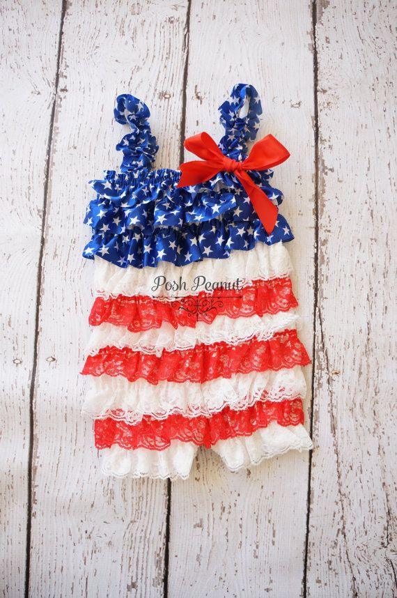 Baby 4th of July Romper  baby 4th of july outfit by PoshPeanutKids, $16.00