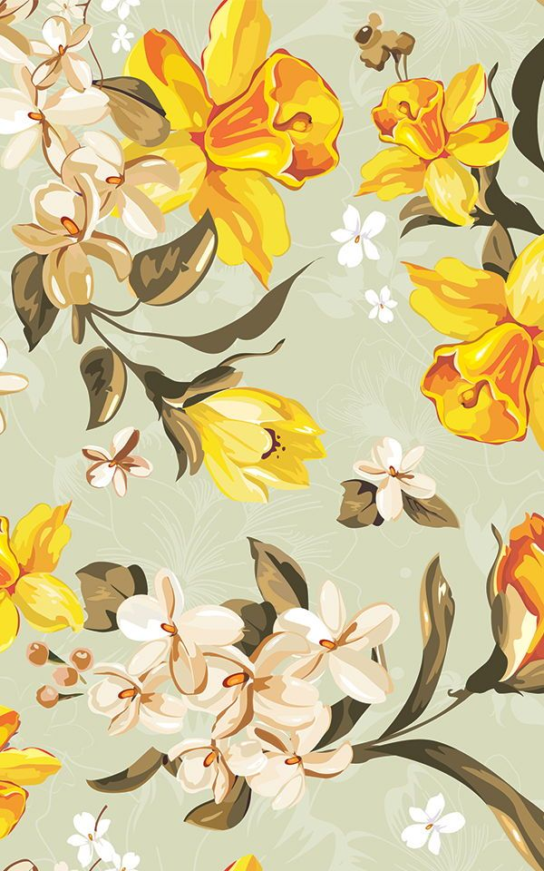 Vintage Illustrated Daffodils Wallpaper Mural In 2020 Vintage