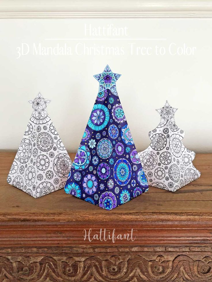 3d Mandala Christmas Tree Ensemble To Color Hattifant Handmade Christmas Decorations Colorful Christmas Tree Crafts