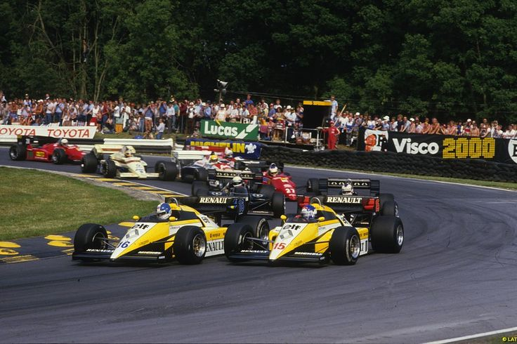Renault team-mates Patrick Tambay and Derek Warick battle at the British GP in 1984.