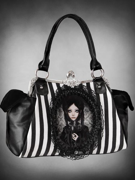 Sac neo victorien noire à rayures blanches avec poupée gothique