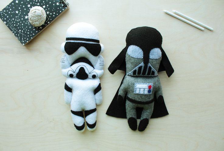 Darth Vader + Stormtrooper Little Felt Toy Star Wars Soft Plushies Black White Star Wars Home Decor Nursery Comics Decor