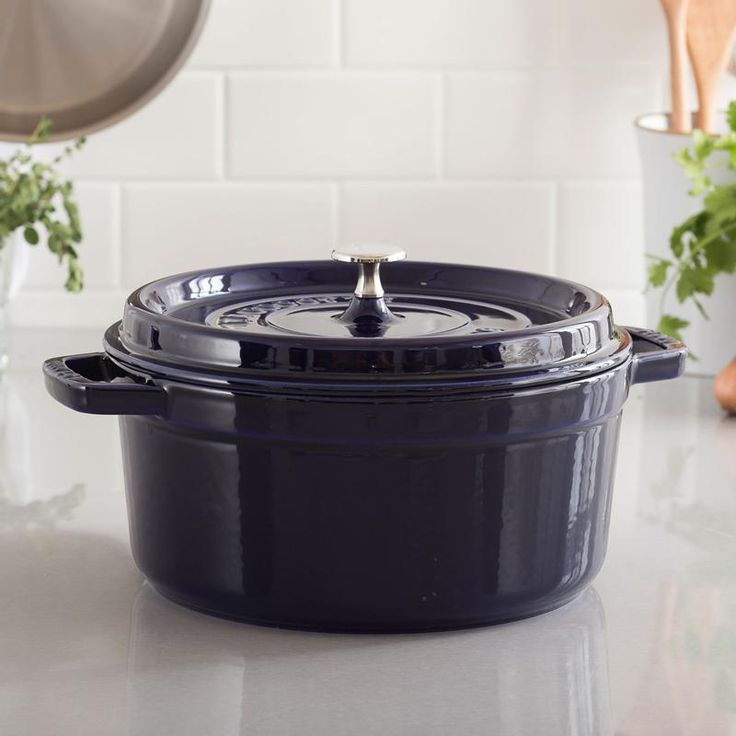 An indispensable component in every kitchen is the enamelled cast iron French Oven. Staub has perfected this traditional vessel in our signature piece La Cocotte. The self-basting spikes on the flat lid completes an ideal environment for sumptuous stews, roasts, soups, casseroles and other one-pot classic dishes. The interior black matte enamel finish is an excellent surface for braising, resists scratching and develops non-stick qualities the more it is used. The Staub La Cocotte works on…