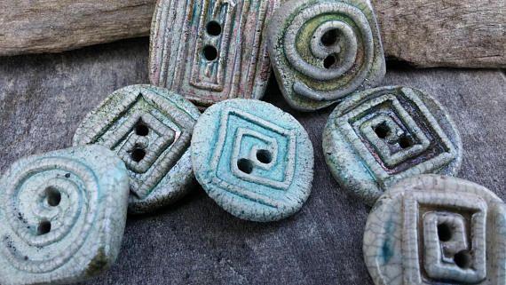 7 Ceramic Buttons  spiral round buttons  raku clay button